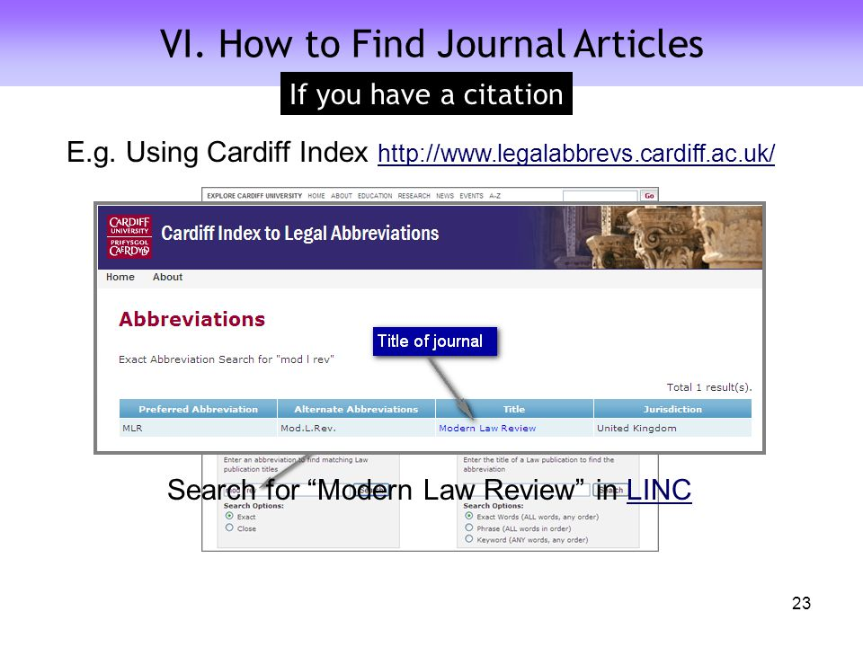A Quick Look at Journal Citations VI. How to Find Journal Articles If you have a citation 23 E.g.