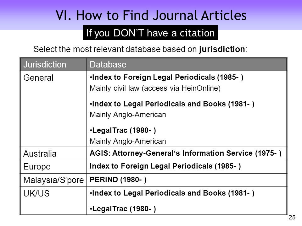 Select the most relevant database based on jurisdiction: JurisdictionDatabase General Index to Foreign Legal Periodicals (1985- ) Mainly civil law (access via HeinOnline) Index to Legal Periodicals and Books (1981- ) Mainly Anglo-American LegalTrac (1980- ) Mainly Anglo-American Australia AGIS: Attorney-General's Information Service (1975- ) Europe Index to Foreign Legal Periodicals (1985- ) Malaysia/S'pore PERIND (1980- ) UK/US Index to Legal Periodicals and Books (1981- ) LegalTrac (1980- ) VI.