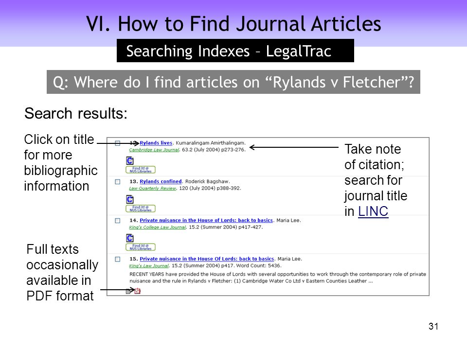 VI. How to Find Journal Articles Click on title for more bibliographic information Full texts occasionally available in PDF format Search results: Sea