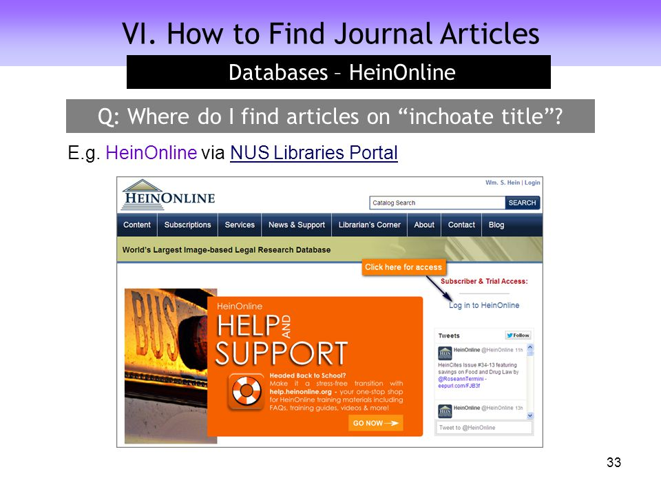 """VI. How to Find Journal Articles Databases – HeinOnline 33 Q: Where do I find articles on """"inchoate title""""? E.g. HeinOnline via NUS Libraries PortalNU"""