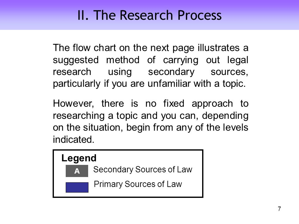 II. The Research Process The flow chart on the next page illustrates a suggested method of carrying out legal research using secondary sources, partic