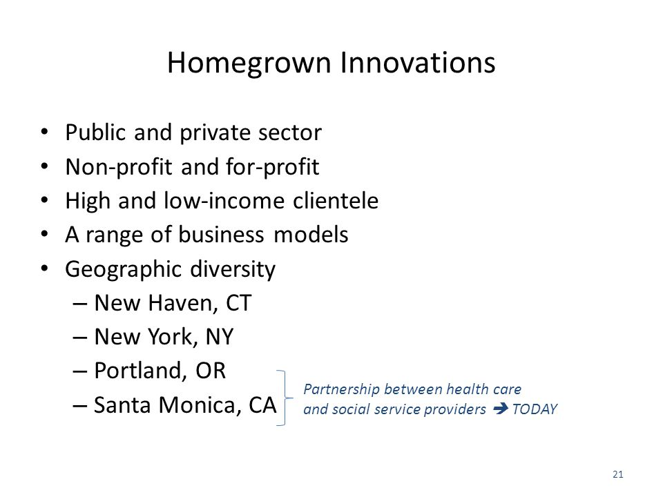 Homegrown Innovations Public and private sector Non-profit and for-profit High and low-income clientele A range of business models Geographic diversity – New Haven, CT – New York, NY – Portland, OR – Santa Monica, CA 21 Partnership between health care and social service providers  TODAY