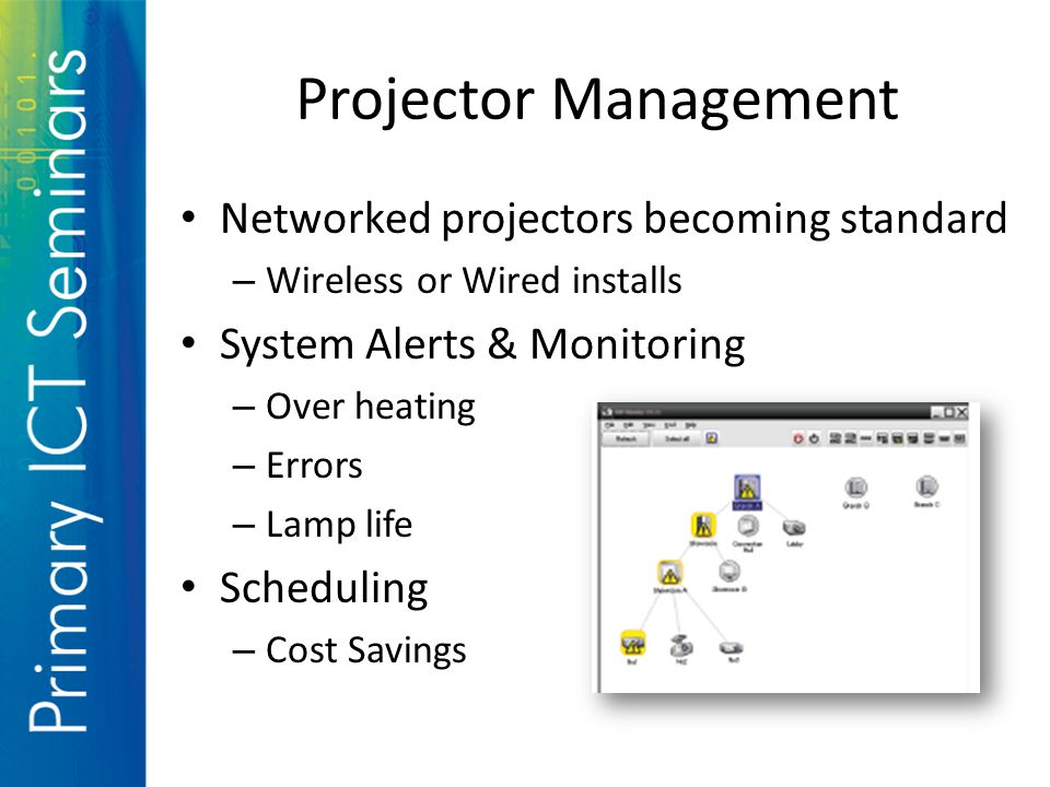 Projector Management Networked projectors becoming standard – Wireless or Wired installs System Alerts & Monitoring – Over heating – Errors – Lamp life Scheduling – Cost Savings