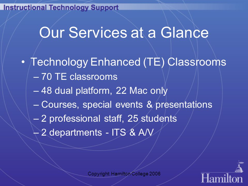 Copyright: Hamilton College 2006 Our Services at a Glance Technology Enhanced (TE) Classrooms –70 TE classrooms –48 dual platform, 22 Mac only –Courses, special events & presentations –2 professional staff, 25 students –2 departments - ITS & A/V
