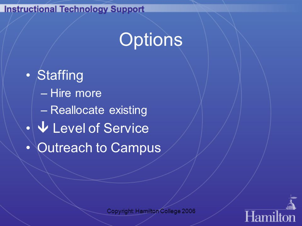 Copyright: Hamilton College 2006 Options Staffing –Hire more –Reallocate existing  Level of Service Outreach to Campus