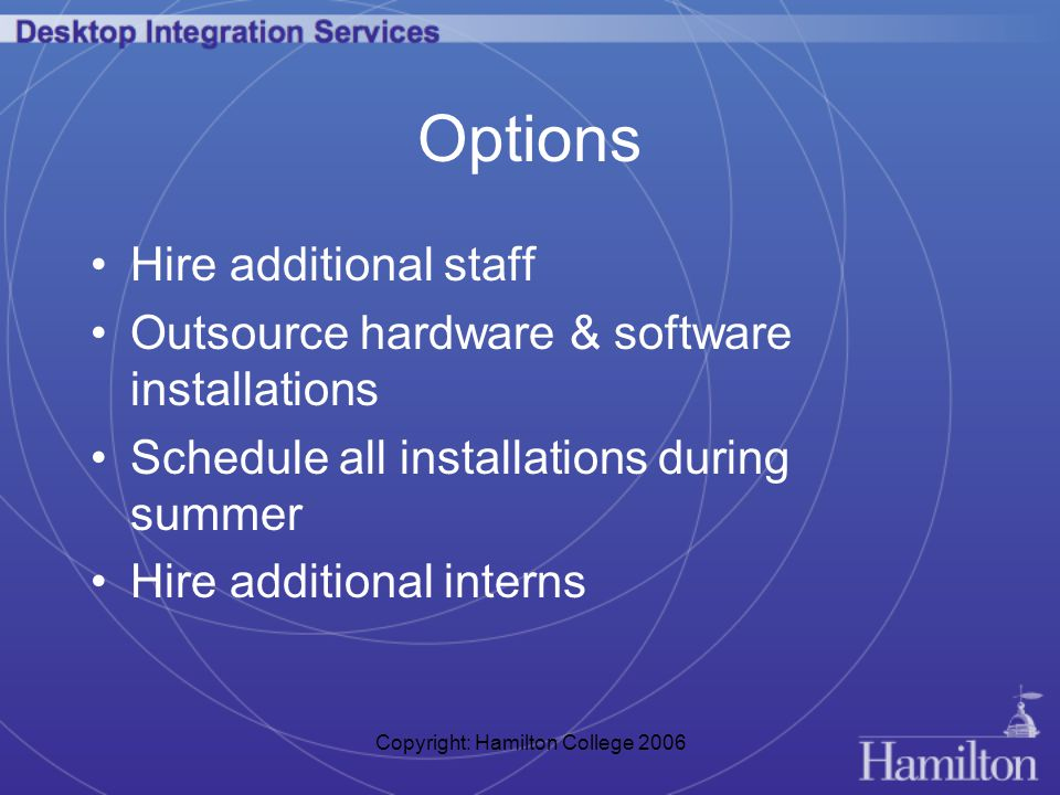 Copyright: Hamilton College 2006 Options Hire additional staff Outsource hardware & software installations Schedule all installations during summer Hire additional interns