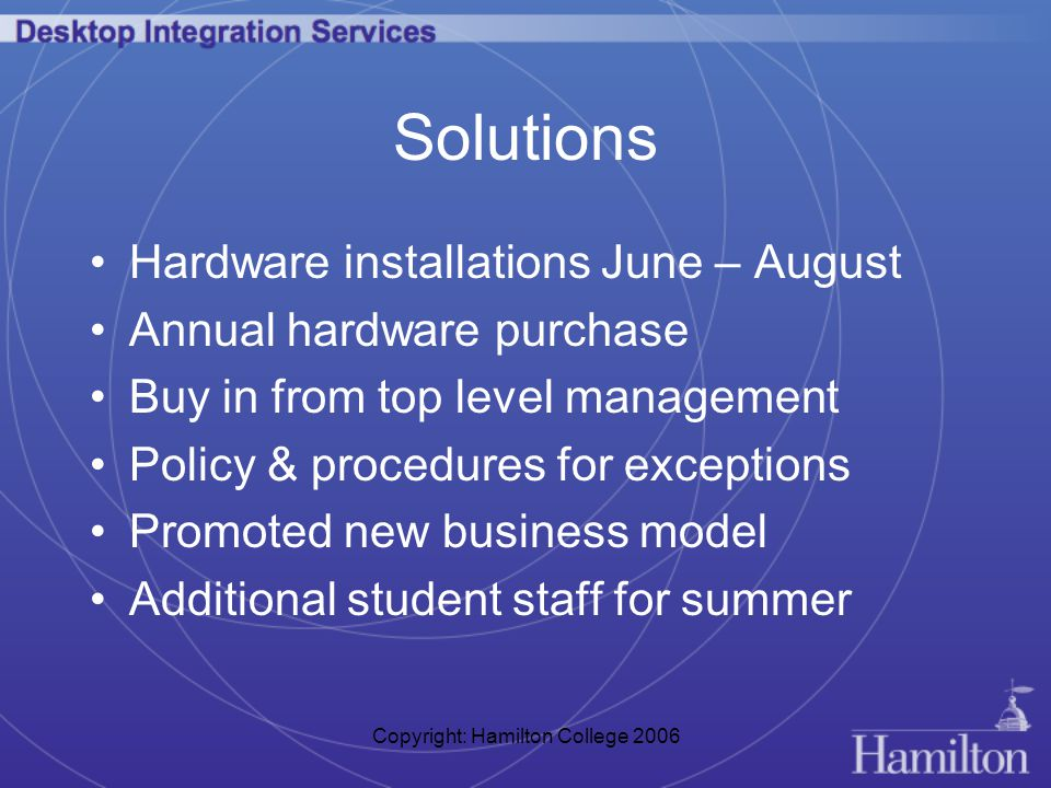 Copyright: Hamilton College 2006 Solutions Hardware installations June – August Annual hardware purchase Buy in from top level management Policy & procedures for exceptions Promoted new business model Additional student staff for summer