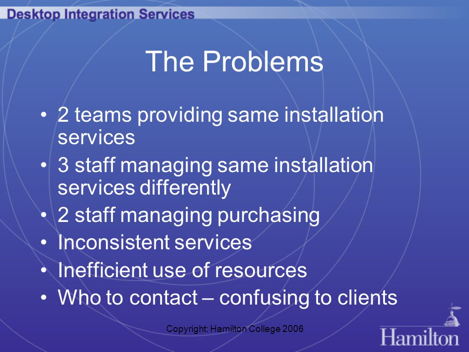 Copyright: Hamilton College 2006 The Problems 2 teams providing same installation services 3 staff managing same installation services differently 2 staff managing purchasing Inconsistent services Inefficient use of resources Who to contact – confusing to clients