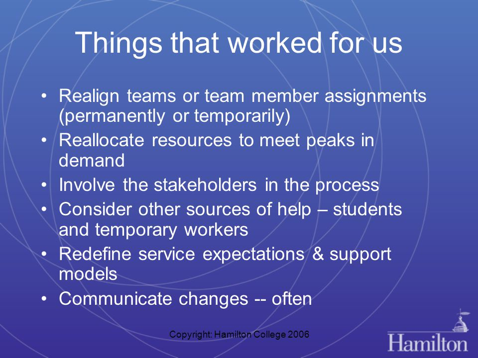 Copyright: Hamilton College 2006 Things that worked for us Realign teams or team member assignments (permanently or temporarily) Reallocate resources to meet peaks in demand Involve the stakeholders in the process Consider other sources of help – students and temporary workers Redefine service expectations & support models Communicate changes -- often