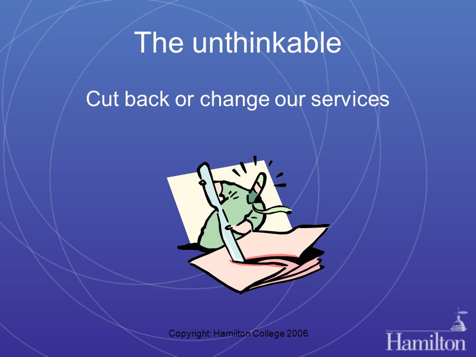 Copyright: Hamilton College 2006 The unthinkable Cut back or change our services