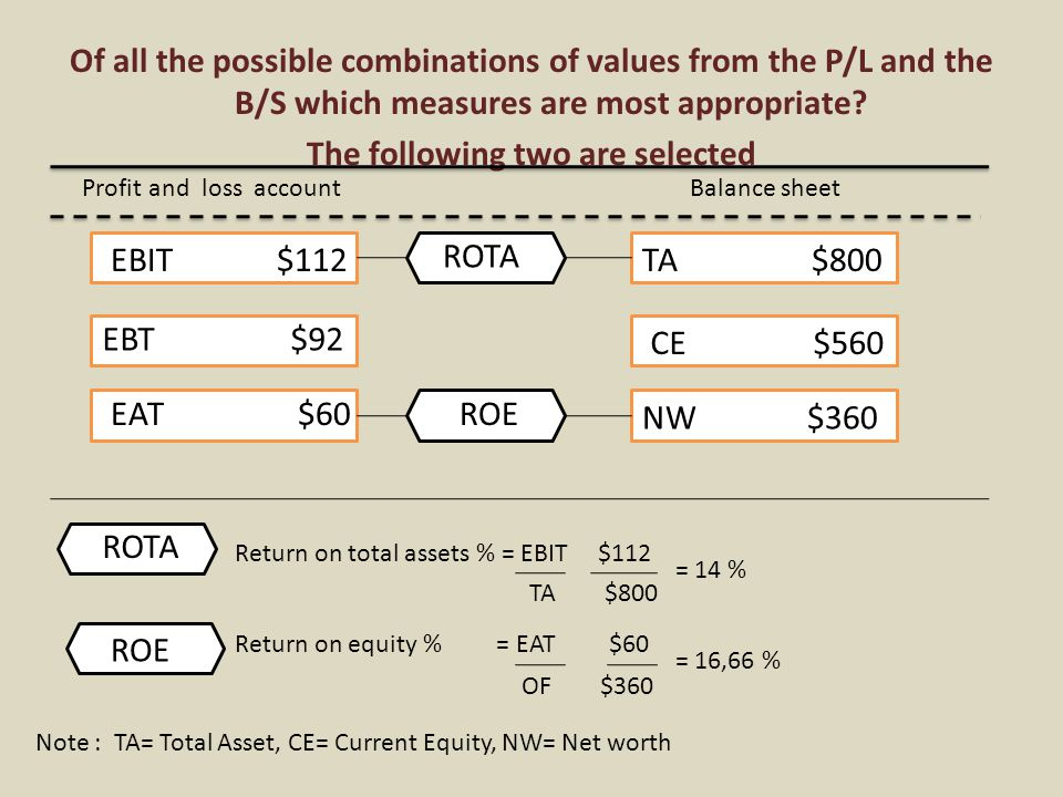 Of all the possible combinations of values from the P/L and the B/S which measures are most appropriate.