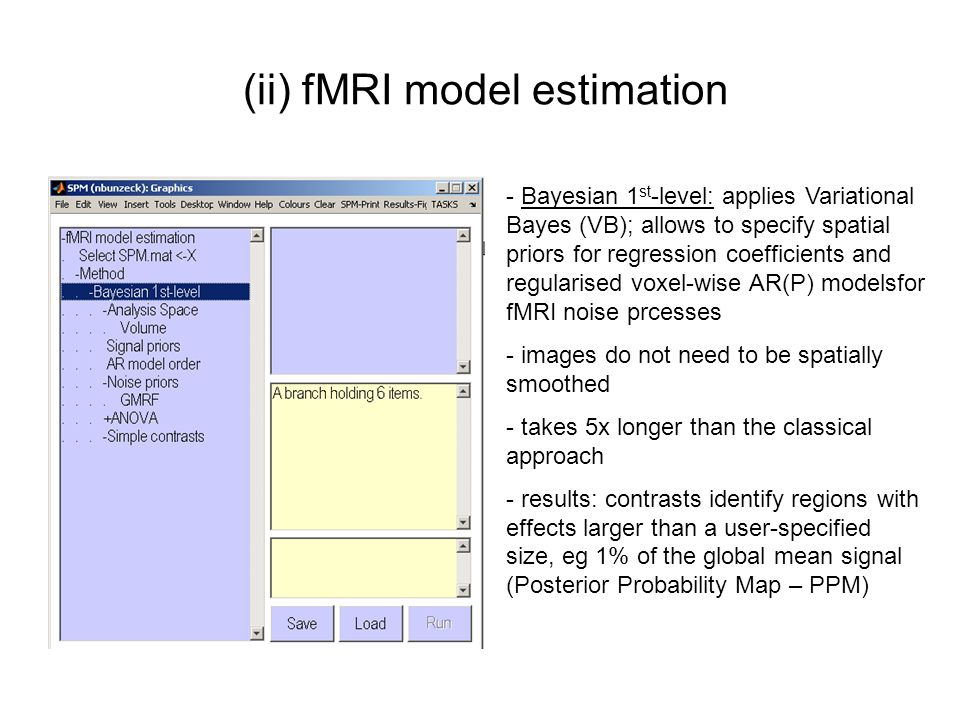 (ii) fMRI model estimation - Bayesian 1 st -level: applies Variational Bayes (VB); allows to specify spatial priors for regression coefficients and re