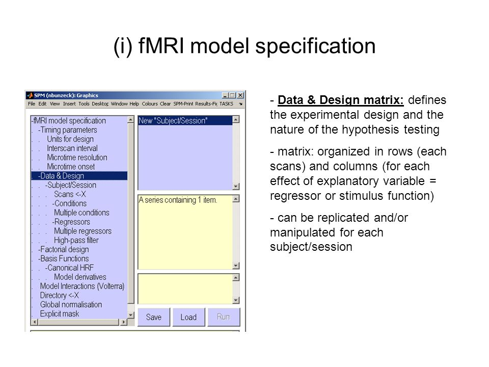 (i) fMRI model specification What should be included in the model.
