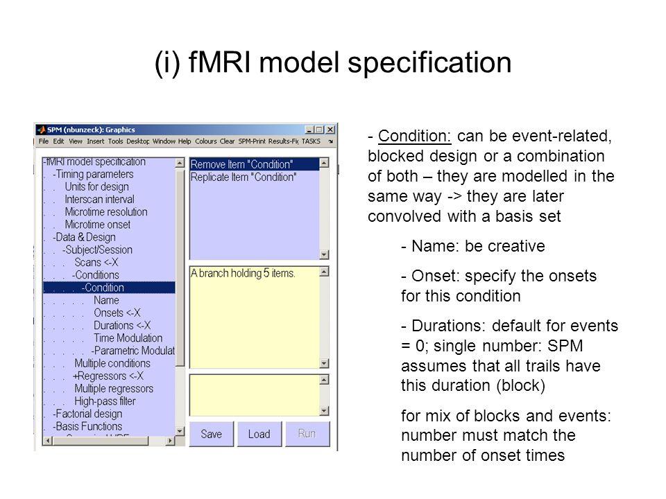 (ii) fMRI model estimation Matrix design Graphical design