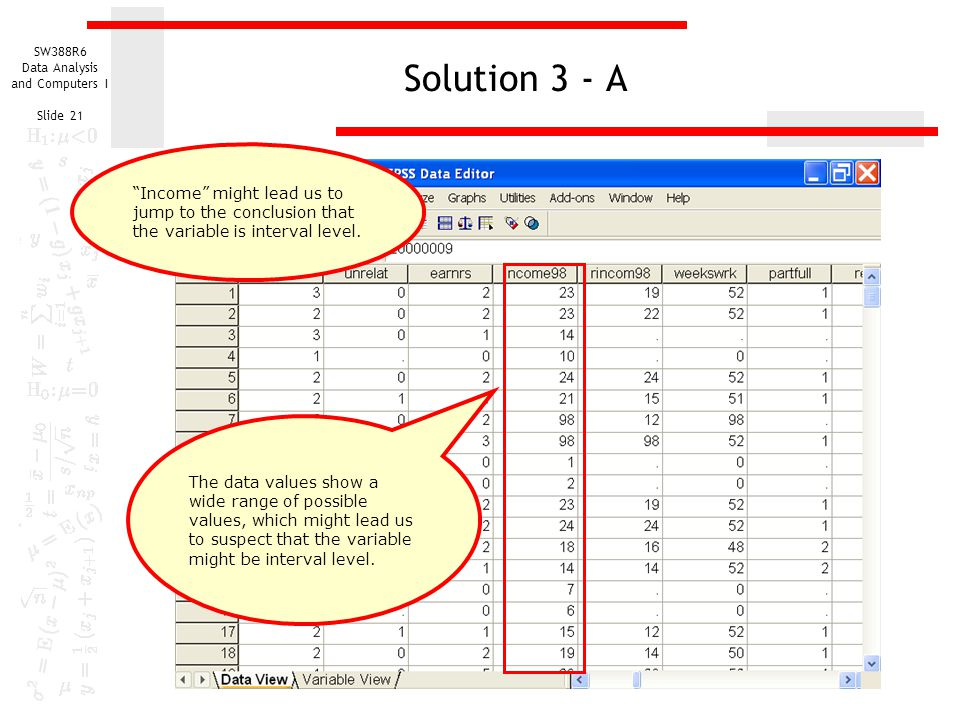 SW388R6 Data Analysis and Computers I Slide 21 Solution 3 - A The data values show a wide range of possible values, which might lead us to suspect tha