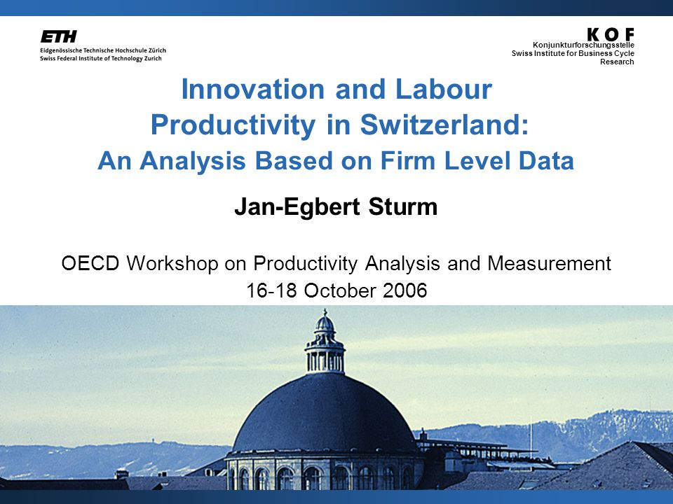 Jan-Egbert Sturm / kof@kof.ethz.ch Konjunkturforschungsstelle Swiss Institute for Business Cycle Research 12 OECD productivity workshop Histogram – Labour productivity (5196 obs.) 080,000160,000240,000320,000400,000480,000 0.000000 0.000002 0.000004 0.000006 0.000008 0.000010 in CHF Mean:136,000 CHF Median:120,500 CHF Mode:104,000 CHF