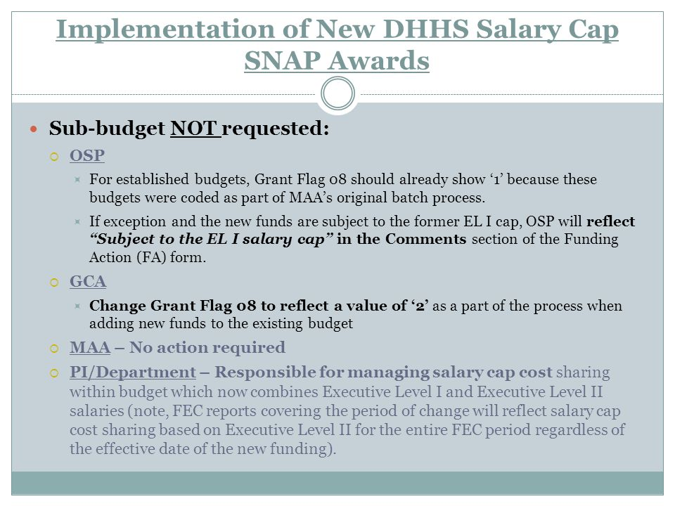 Implementation of New DHHS Salary Cap SNAP Awards Sub-budget NOT requested:  OSP  For established budgets, Grant Flag 08 should already show '1' because these budgets were coded as part of MAA's original batch process.
