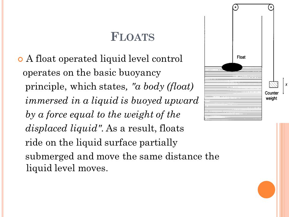 F LOATS A float operated liquid level control operates on the basic buoyancy principle, which states,