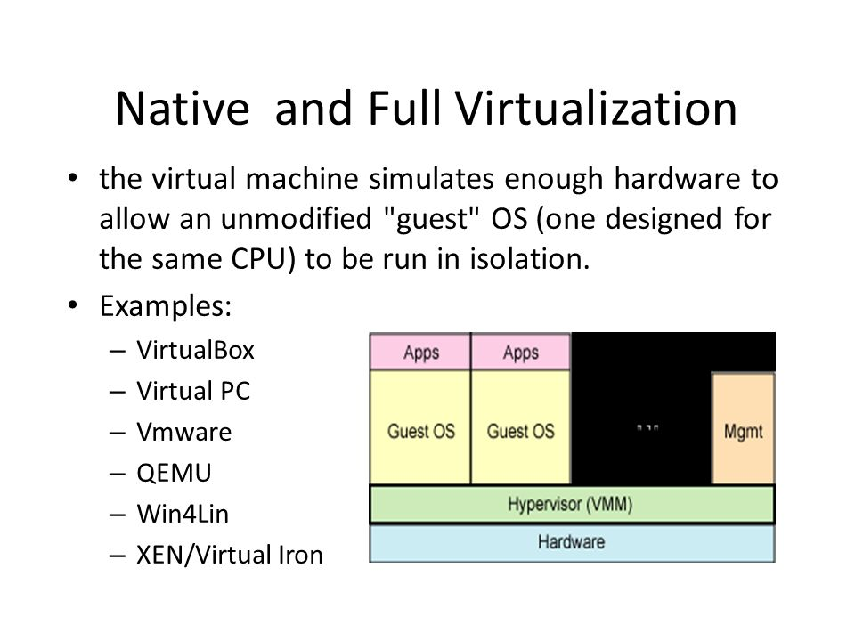 Native and Full Virtualization the virtual machine simulates enough hardware to allow an unmodified guest OS (one designed for the same CPU) to be run in isolation.