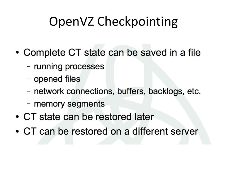 OpenVZ Checkpointing