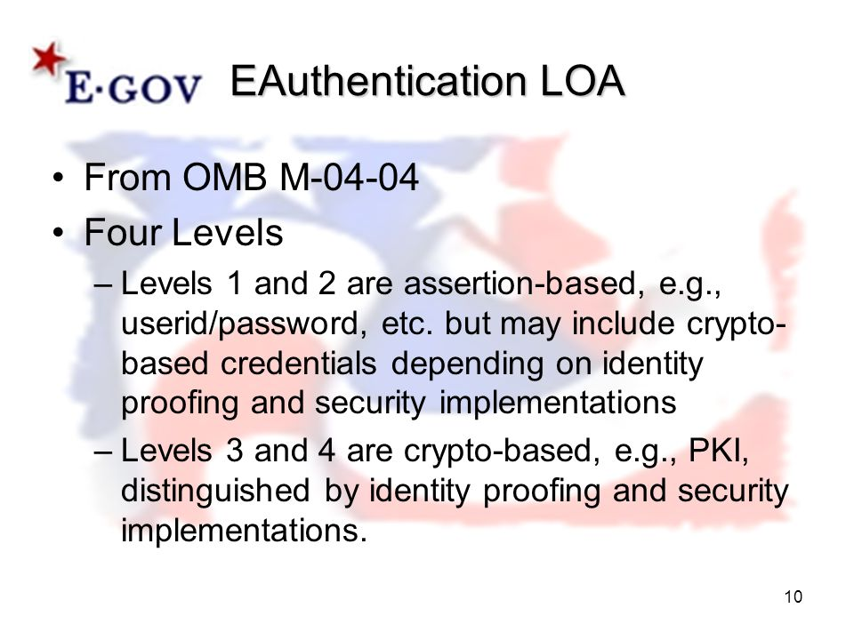 10 EAuthentication LOA From OMB M-04-04 Four Levels –Levels 1 and 2 are assertion-based, e.g., userid/password, etc.