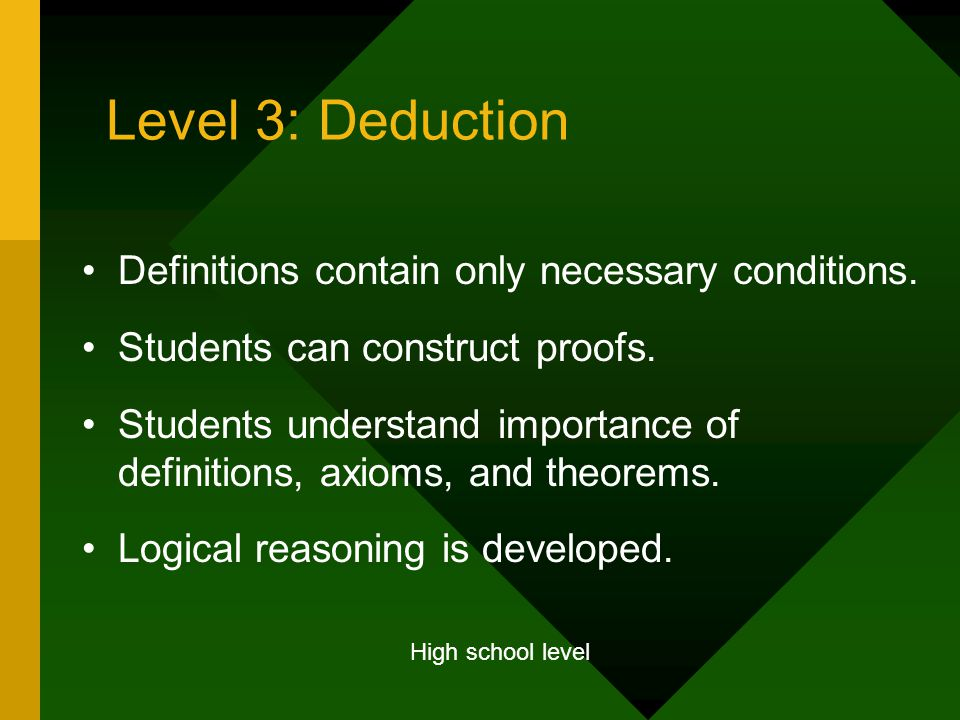 Level 3: Deduction Definitions contain only necessary conditions.