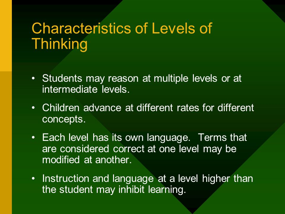 Characteristics of Levels of Thinking Students may reason at multiple levels or at intermediate levels.