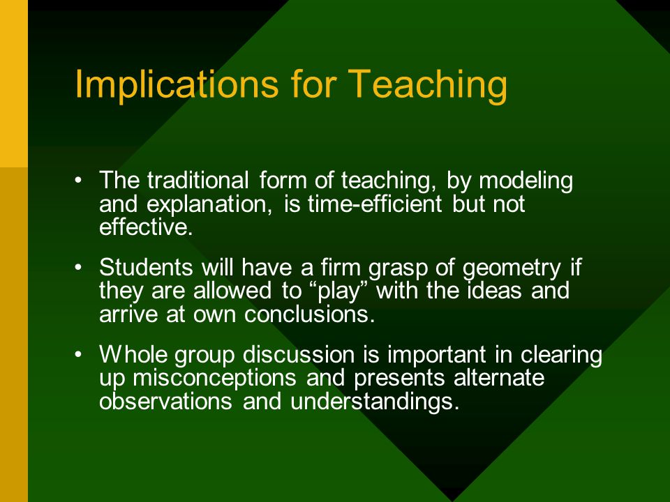 Implications for Teaching The traditional form of teaching, by modeling and explanation, is time-efficient but not effective.