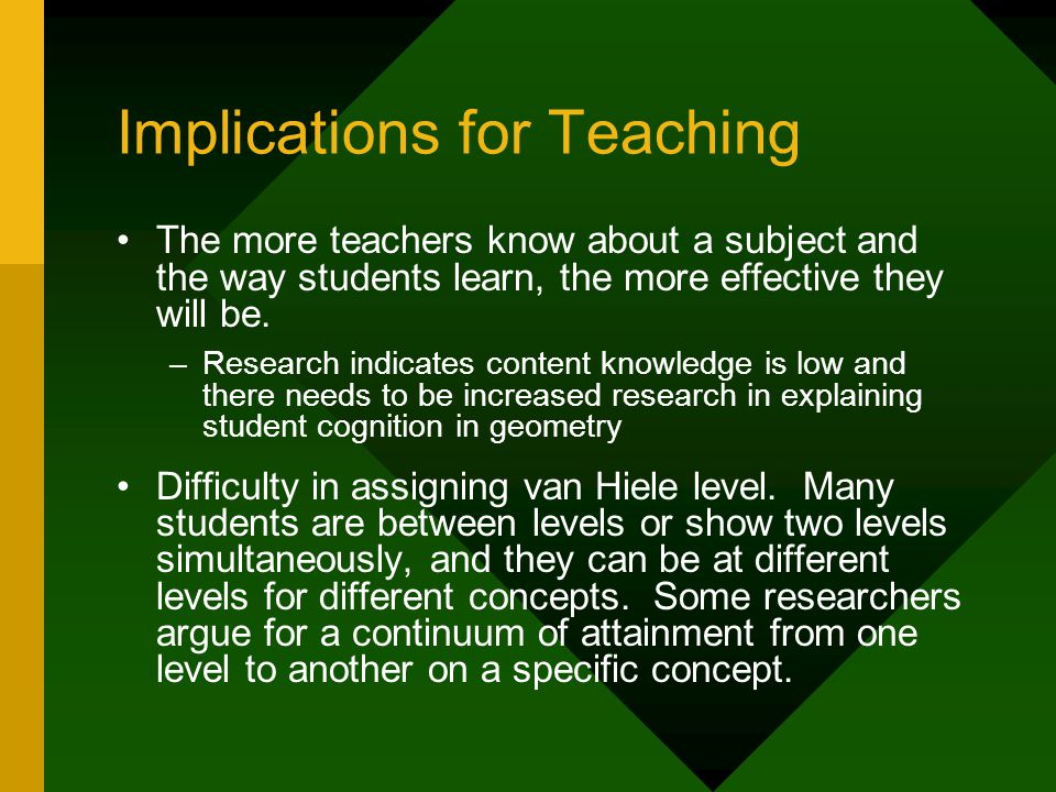 Implications for Teaching The more teachers know about a subject and the way students learn, the more effective they will be.