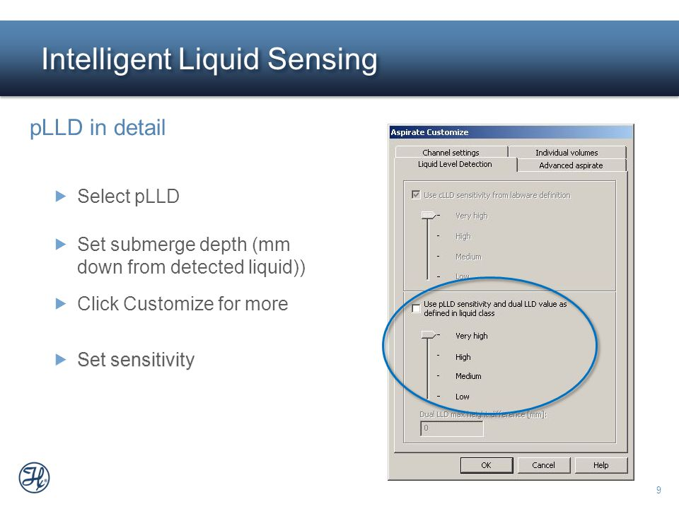 9  Set sensitivity Intelligent Liquid Sensing  Set sensitivity pLLD in detail  Select pLLD  Click Customize for more  Set submerge depth (mm down