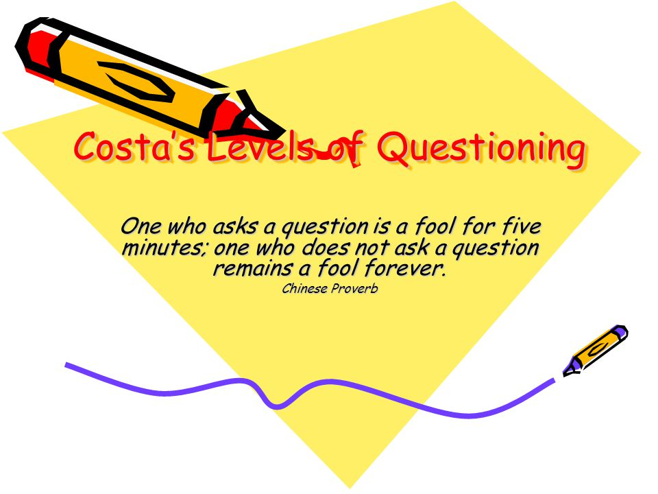 Costa's Levels of Questioning One who asks a question is a fool for five minutes; one who does not ask a question remains a fool forever. Chinese Prov