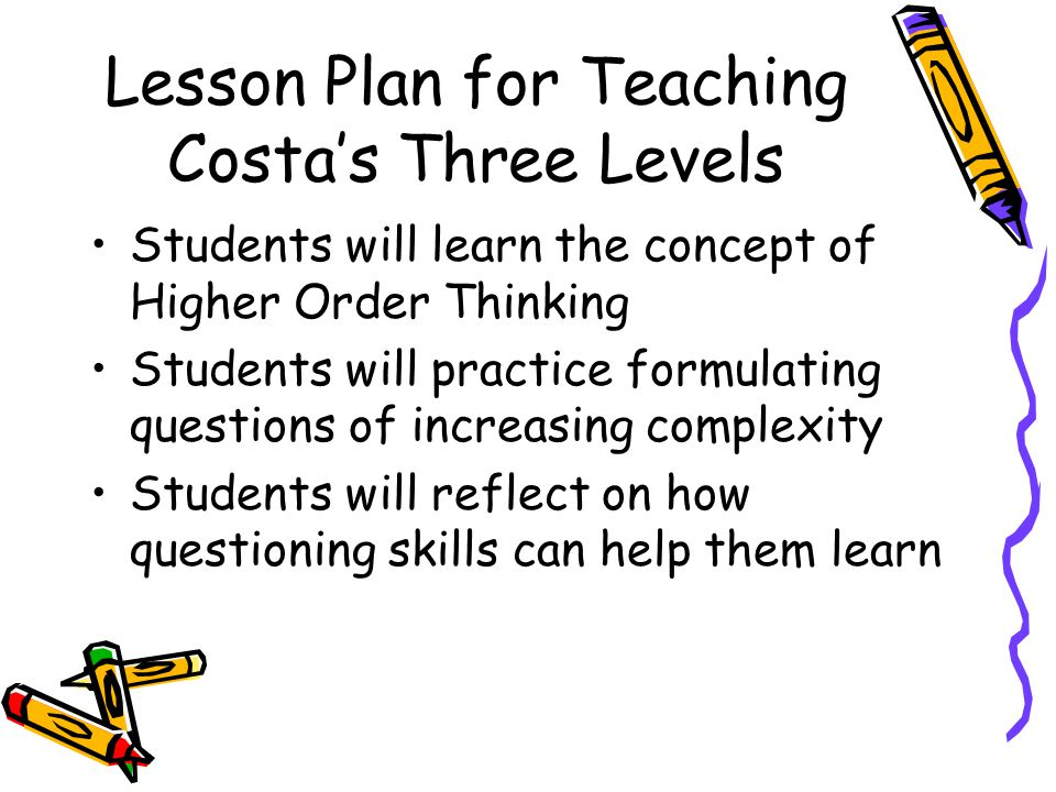 Lesson Plan for Teaching Costa's Three Levels Students will learn the concept of Higher Order Thinking Students will practice formulating questions of