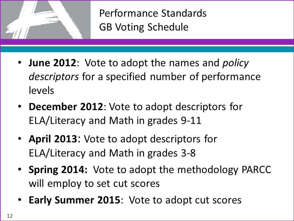 June 2012: Vote to adopt the names and policy descriptors for a specified number of performance levels December 2012: Vote to adopt descriptors for ELA/Literacy and Math in grades 9-11 April 2013 : Vote to adopt descriptors for ELA/Literacy and Math in grades 3-8 Spring 2014: Vote to adopt the methodology PARCC will employ to set cut scores Early Summer 2015: Vote to adopt cut scores 12 Performance Standards GB Voting Schedule