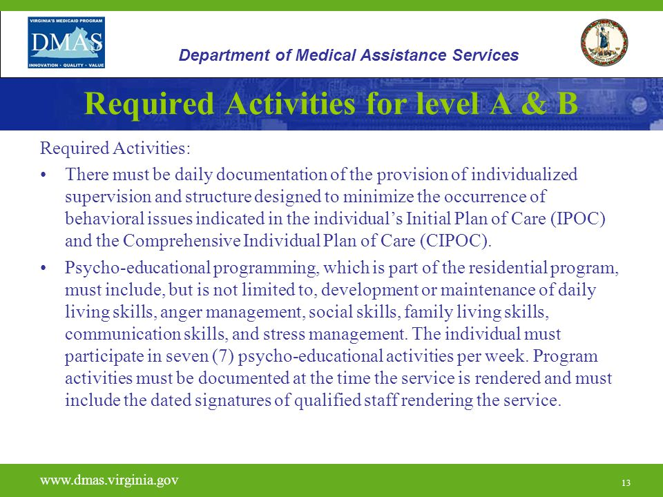 13 Required Activities for level A & B Required Activities: There must be daily documentation of the provision of individualized supervision and struc