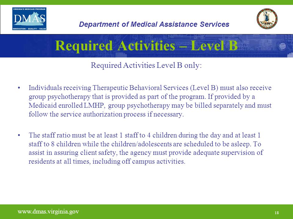 18 Required Activities – Level B Required Activities Level B only: Individuals receiving Therapeutic Behavioral Services (Level B) must also receive g