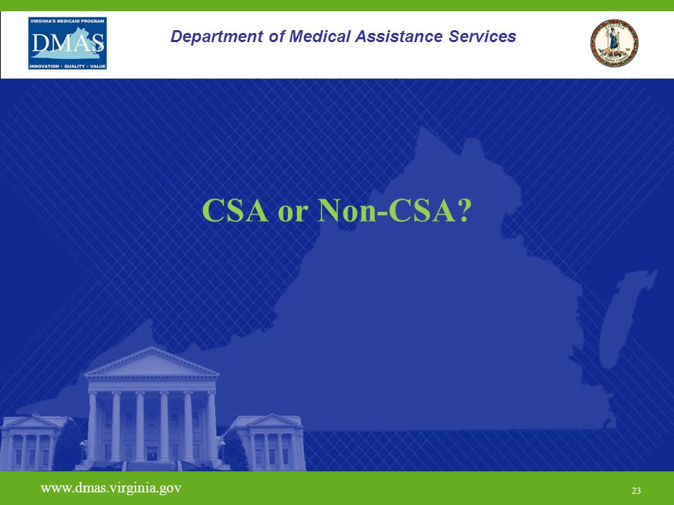 23 www.dmas.virginia.gov 23 Department of Medical Assistance Services CSA or Non-CSA?