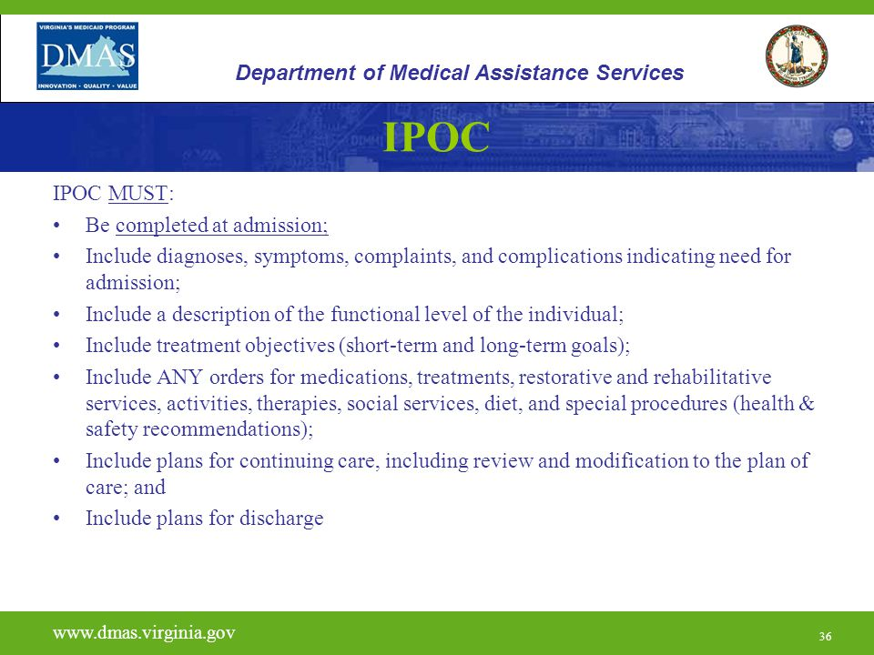 36 IPOC IPOC MUST: Be completed at admission; Include diagnoses, symptoms, complaints, and complications indicating need for admission; Include a desc