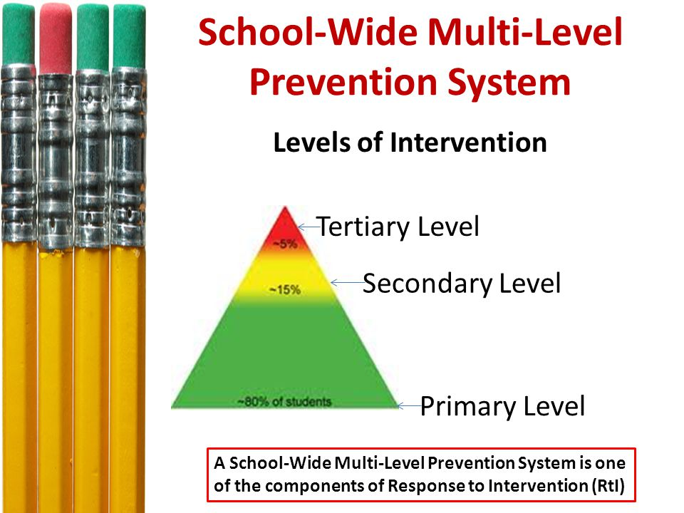 School-Wide Multi-Level Prevention System Levels of Intervention Tertiary Level Primary Level Secondary Level A School-Wide Multi-Level Prevention System is one of the components of Response to Intervention (RtI)