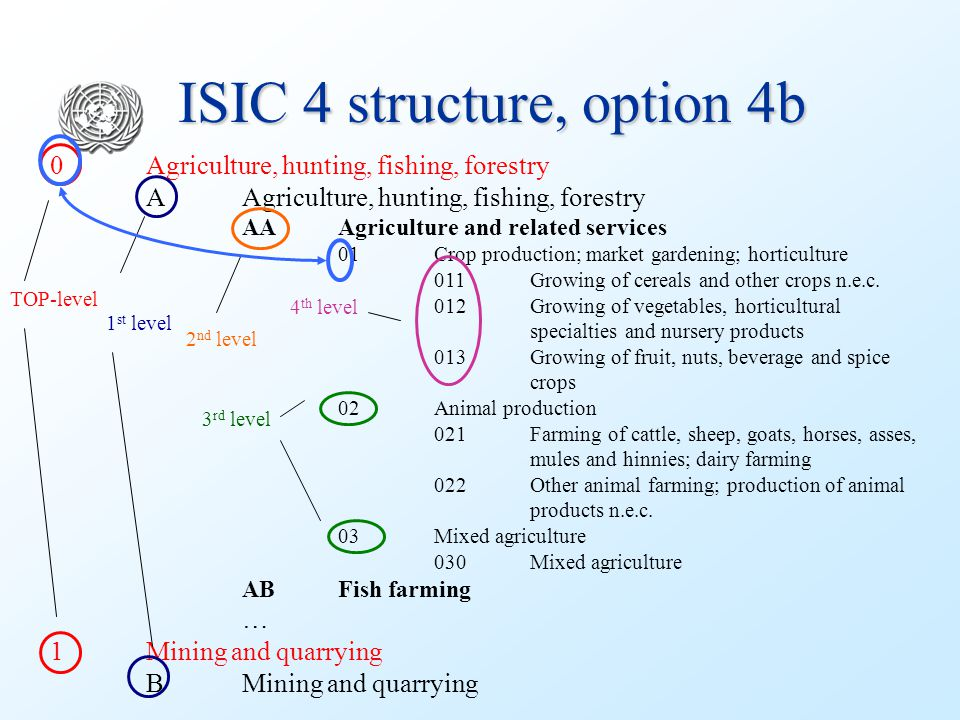 ISIC 4 structure, option 4b 0 Agriculture, hunting, fishing, forestry AAgriculture, hunting, fishing, forestry AAAgriculture and related services 01Cr