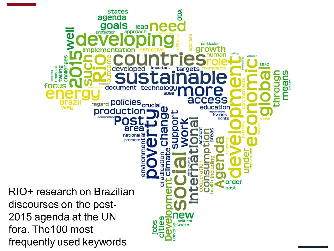 RIO+ research on Brazilian discourses on the post- 2015 agenda at the UN fora.