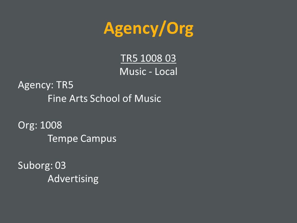 Agency/Org TR5 1008 03 Music - Local Agency: TR5 Fine Arts School of Music Org: 1008 Tempe Campus Suborg: 03 Advertising