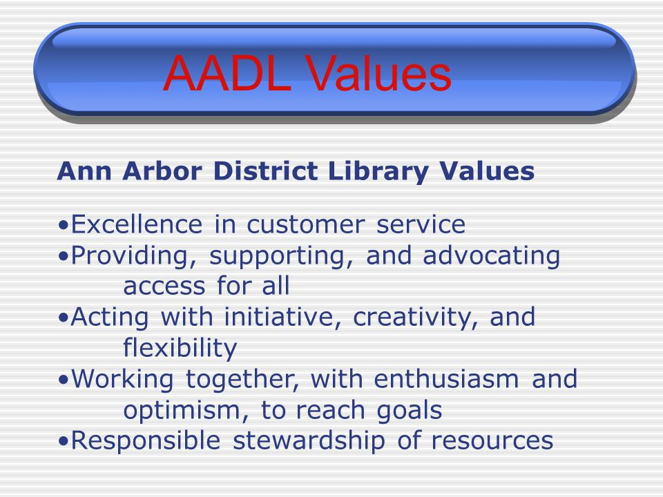 AADL Values Ann Arbor District Library Values Excellence in customer service Providing, supporting, and advocating access for all Acting with initiati