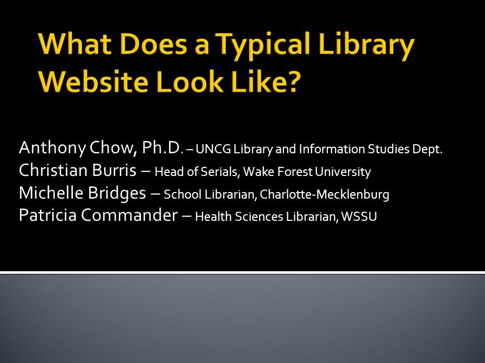 Anthony Chow, Ph.D. – UNCG Library and Information Studies Dept.