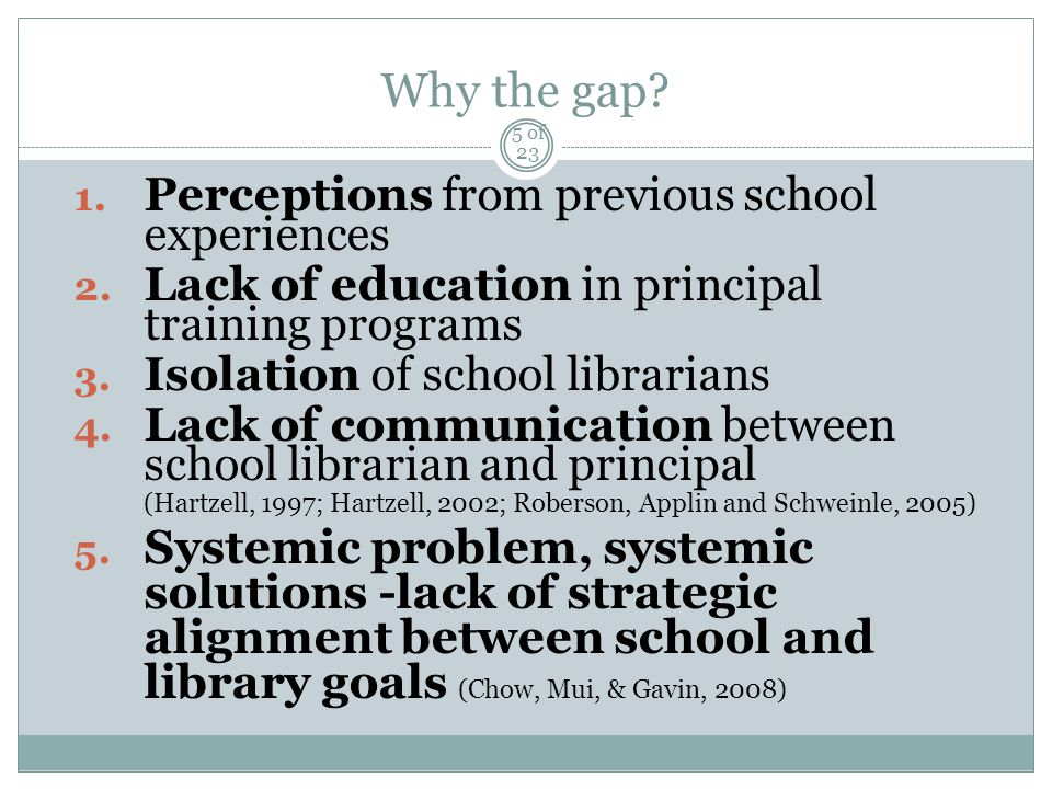Why the gap. 1. Perceptions from previous school experiences 2.