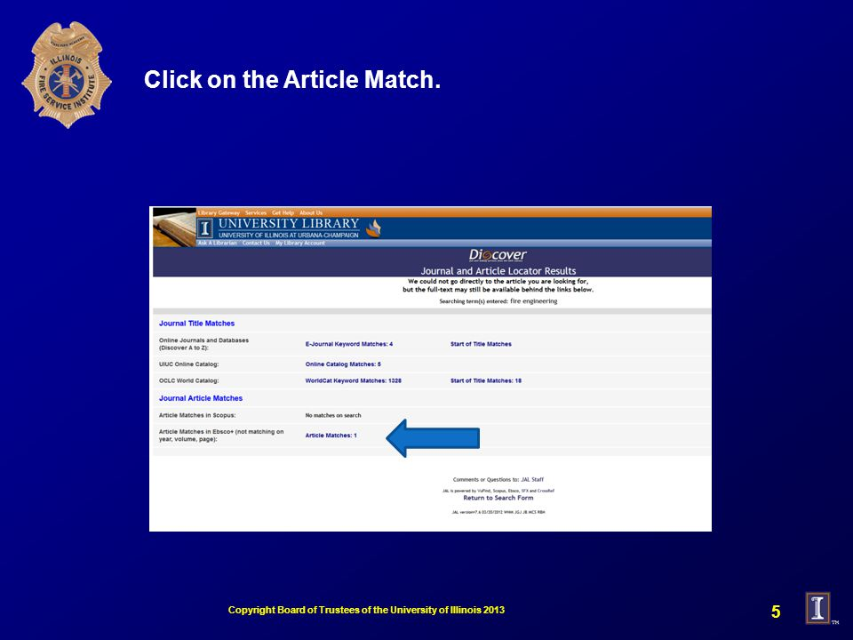 Click on the Article Match. Copyright Board of Trustees of the University of Illinois
