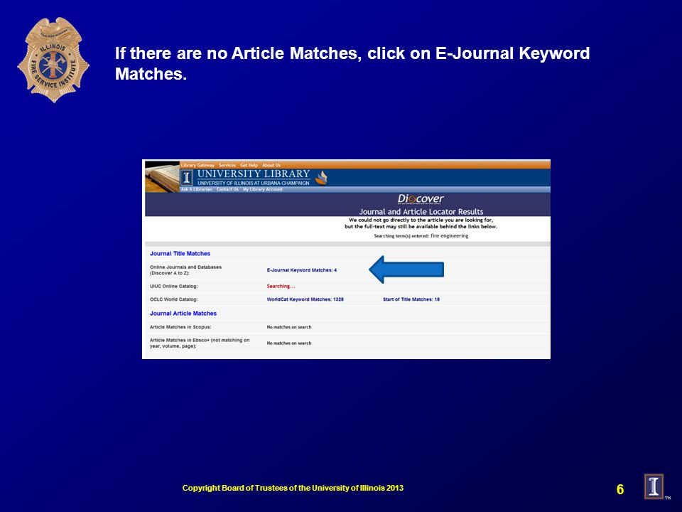If there are no Article Matches, click on E-Journal Keyword Matches.