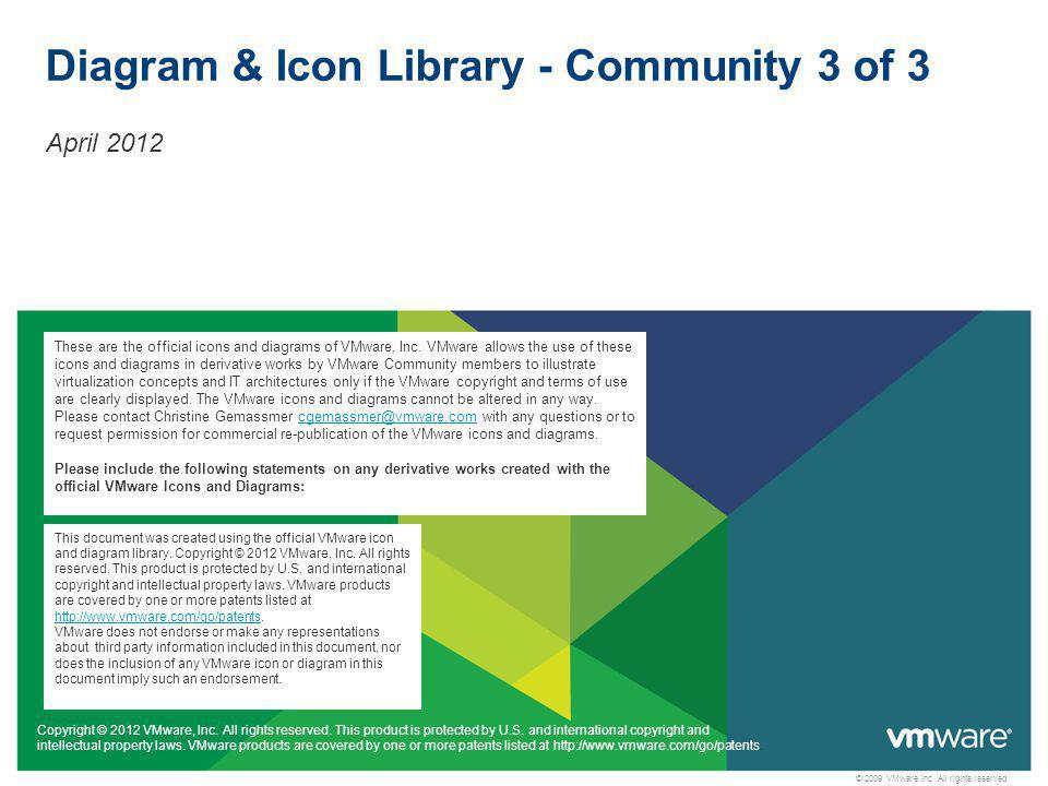 © 2009 VMware Inc. All rights reserved Diagram & Icon Library - Community 3 of 3 April 2012 Copyright © 2012 VMware, Inc. All rights reserved. This pr