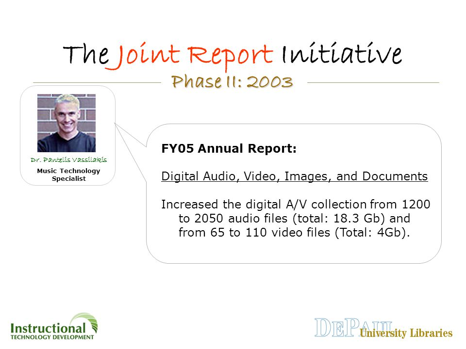 Phase II: 2003 Phase II: 2003 The Joint Report Initiative Dr.