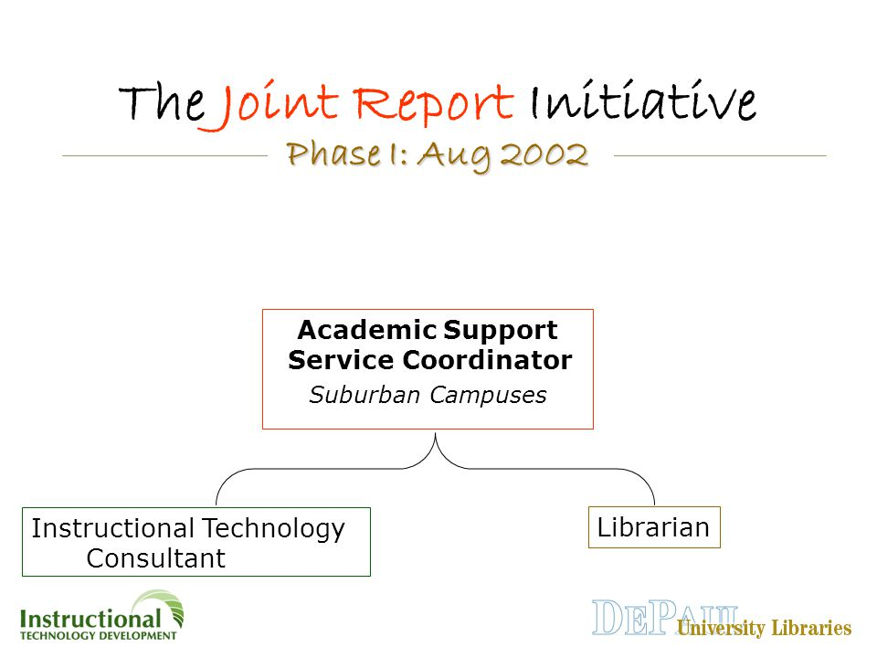 Instructional Technology Consultant The Joint Report Initiative Librarian Academic Support Service Coordinator Suburban Campuses Phase I: Aug 2002 Phase I: Aug 2002