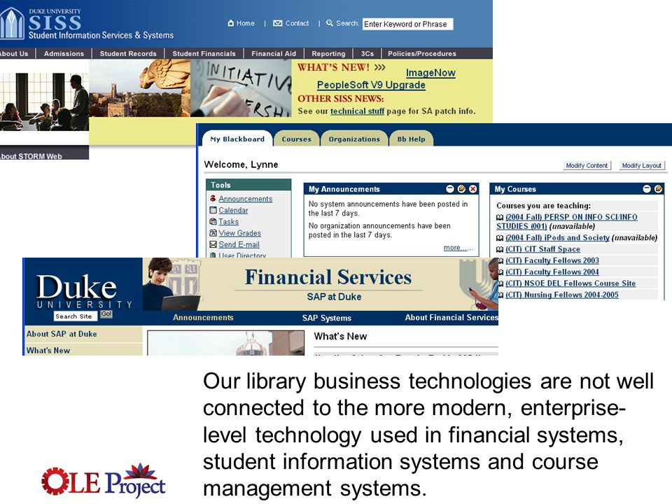 Our library business technologies are not well connected to the more modern, enterprise- level technology used in financial systems, student information systems and course management systems.